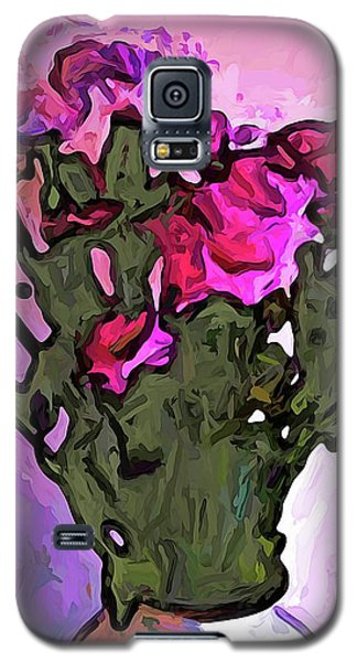 The Pink Flowers With The Long Stems In The Vase Galaxy S5 Case