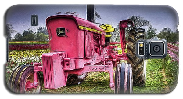 The Pink Tractor At The Wooden Shoe Tulip Farm Galaxy S5 Case by Thom Zehrfeld