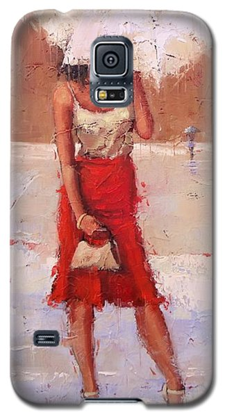 Galaxy S5 Case featuring the painting The Pose by Laura Lee Zanghetti