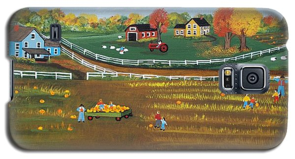 Galaxy S5 Case featuring the painting The Pumpkin Patch by Virginia Coyle