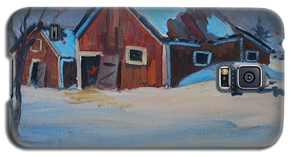 Galaxy S5 Case featuring the painting The Raymond Serre Farm by Len Stomski