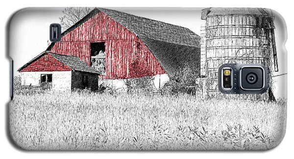 Galaxy S5 Case featuring the photograph The Red Barn - Sketch 0004 by Ericamaxine Price
