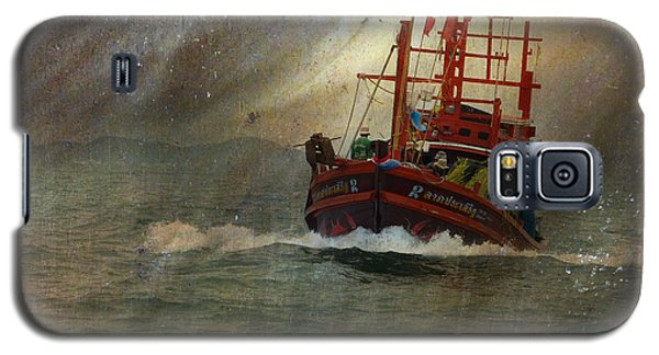 Galaxy S5 Case featuring the photograph The Red Fishing Boat by LemonArt Photography