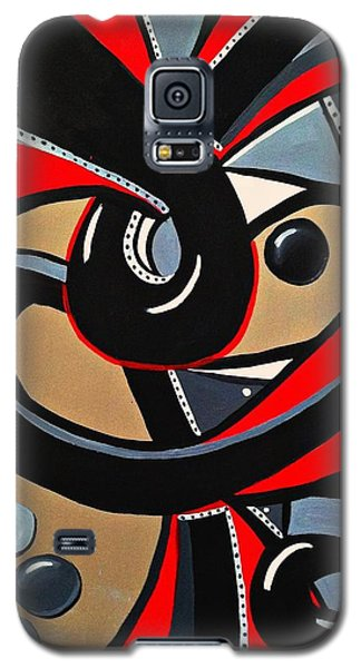 Red Black Abstract Art Painting, Swirl Acrylic Painting Galaxy S5 Case