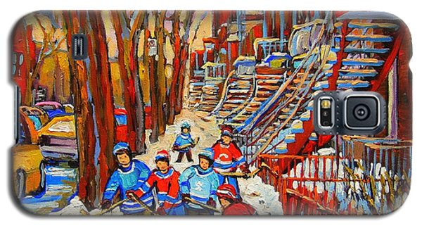 The Red Staircase Painting By Montreal Streetscene Artist Carole Spandau Galaxy S5 Case