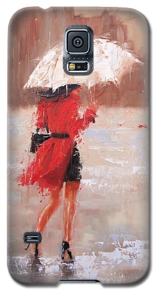 Galaxy S5 Case featuring the painting The Rush by Laura Lee Zanghetti