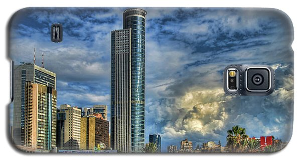Galaxy S5 Case featuring the photograph The Skyscraper And Low Clouds Dance by Ron Shoshani