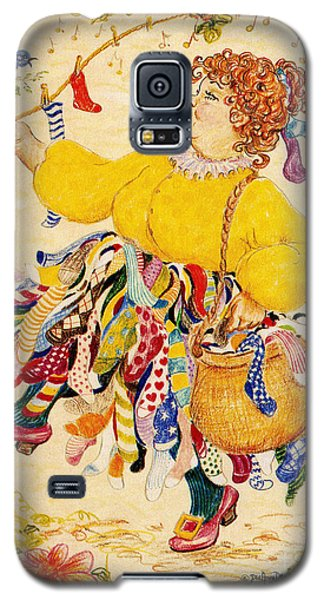 Galaxy S5 Case featuring the drawing The Sock Lady by Dee Davis