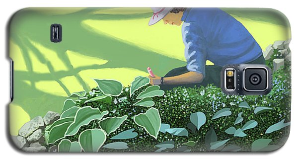Galaxy S5 Case featuring the painting The Solace Of The Shade Garden by Gary Giacomelli