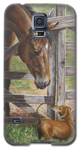 Galaxy S5 Case featuring the painting The Tall And Short Of It by Kim Lockman
