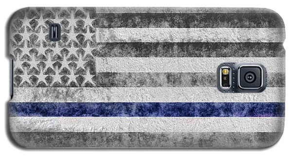 Galaxy S5 Case featuring the digital art The Thin Blue Line American Flag by JC Findley