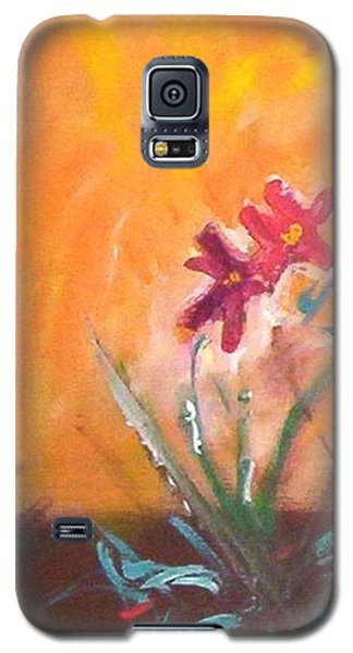 Galaxy S5 Case featuring the painting The Three Daisies by Winsome Gunning