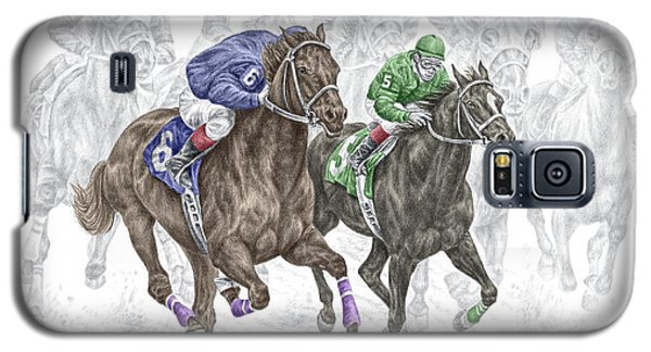 Galaxy S5 Case featuring the drawing The Thunder Of Hooves - Horse Racing Print Color by Kelli Swan
