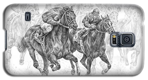 Galaxy S5 Case featuring the drawing The Thunder Of Hooves - Horse Racing Print by Kelli Swan