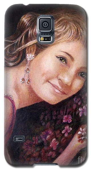 Galaxy S5 Case featuring the painting The Topaz Earring by Patricia Schneider Mitchell