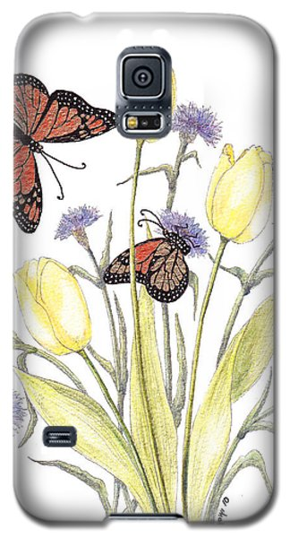 Galaxy S5 Case featuring the painting The Tulip And The Butterfly by Stanza Widen