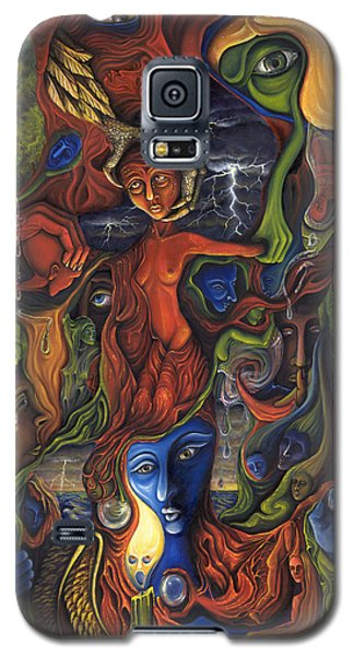 Galaxy S5 Case featuring the painting The Ultimate Conflict by Karen Musick