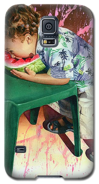 Watermelon Galaxy S5 Case - The Watermelon Eater by Marguerite Chadwick-Juner