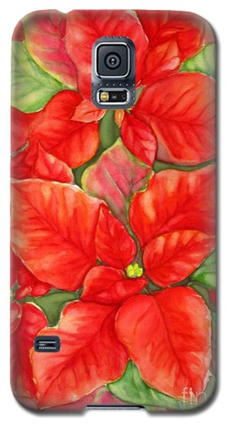 Galaxy S5 Case featuring the painting This Year's Poinsettia 1 by Inese Poga