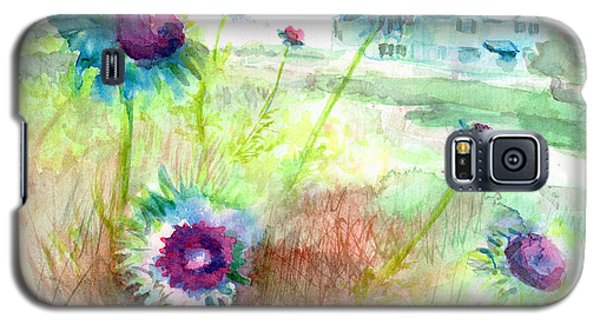 Galaxy S5 Case featuring the painting Thistles #1 by Andrew Gillette