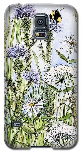 Galaxy S5 Case featuring the painting  Thistles Daisies And Wildflowers by Laurie Rohner