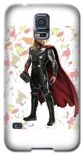 Galaxy S5 Case featuring the mixed media Thor Splash Super Hero Series by Movie Poster Prints