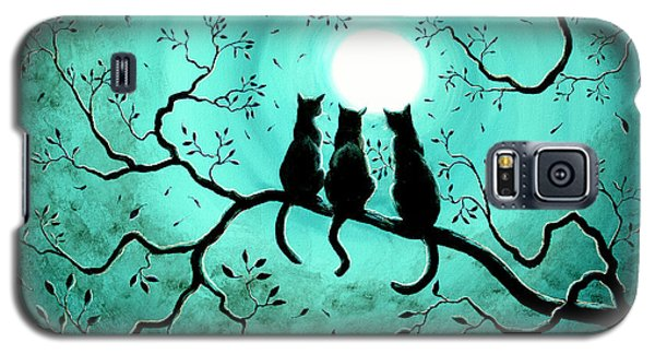 Three Black Cats Under A Full Moon Galaxy S5 Case