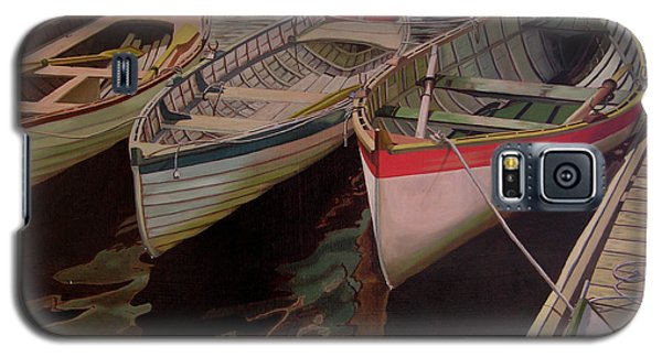 Galaxy S5 Case featuring the painting Three Boats by Thu Nguyen