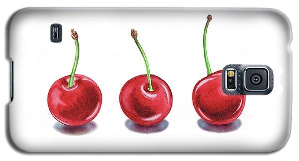 Galaxy S5 Case featuring the painting Three Cherries Watercolor Painting by Irina Sztukowski