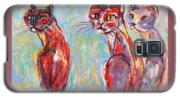 Galaxy S5 Case featuring the painting Three Cool Cats by Mary Schiros