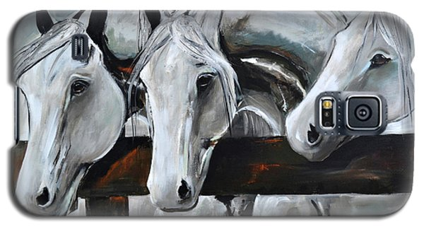 Galaxy S5 Case featuring the painting Three Greys by Cher Devereaux