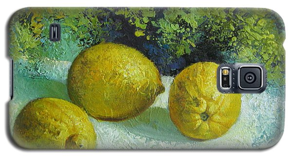 Galaxy S5 Case featuring the painting Three Lemons by Elena Oleniuc