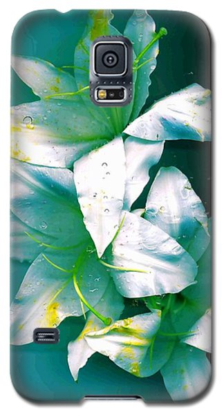 Galaxy S5 Case featuring the photograph Three Lilies by Carolyn Repka