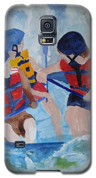 Galaxy S5 Case featuring the painting Three Men In A Tube by Sandy McIntire