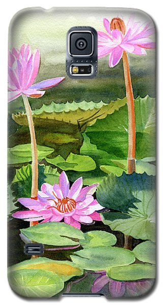 Lily Galaxy S5 Case - Three Pink Water Lilies With Pads by Sharon Freeman