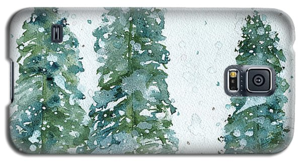 Galaxy S5 Case featuring the painting Three Snowy Spruce Trees by Dawn Derman