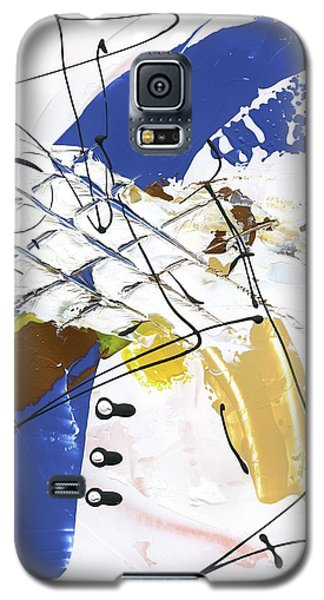Galaxy S5 Case featuring the painting Three Color Palette Blue 3 by Michal Mitak Mahgerefteh