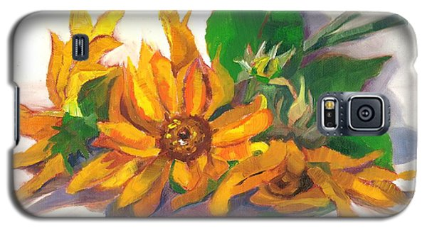 Galaxy S5 Case featuring the painting Three Sunflowers by Susan Thomas
