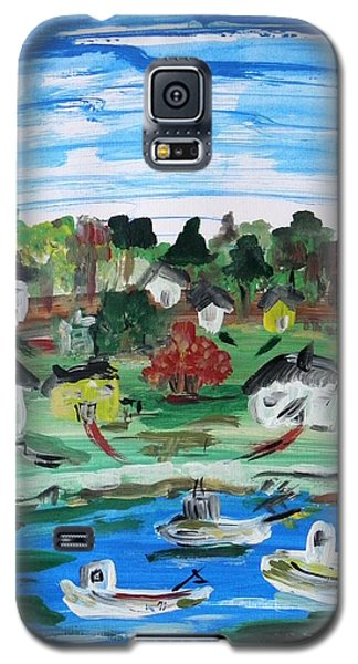 Galaxy S5 Case featuring the painting Three Work Boats Return by Mary Carol Williams