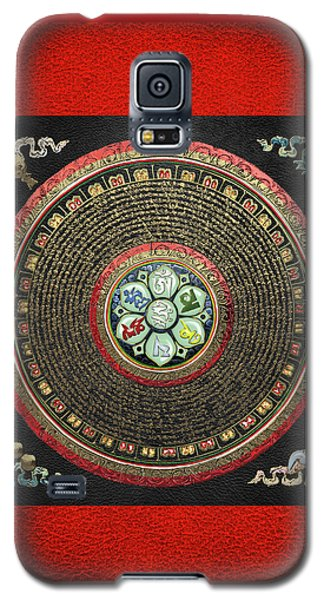 Tibetan Om Mantra Mandala In Gold On Black And Red Galaxy S5 Case