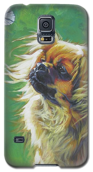 Tibetan Spaniel And Cabbage White Butterfly Galaxy S5 Case by Lee Ann Shepard