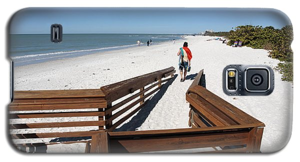 Tide Of Sand Over A Ramp On The Beach In Naples Florida Galaxy S5 Case