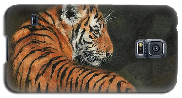 Galaxy S5 Case featuring the painting Tiger At Night by David Stribbling