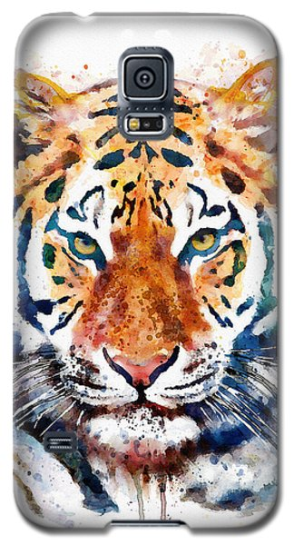 Tiger Head Watercolor Galaxy S5 Case by Marian Voicu