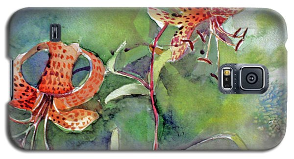 Galaxy S5 Case featuring the painting Tiger Lilies by Mindy Newman