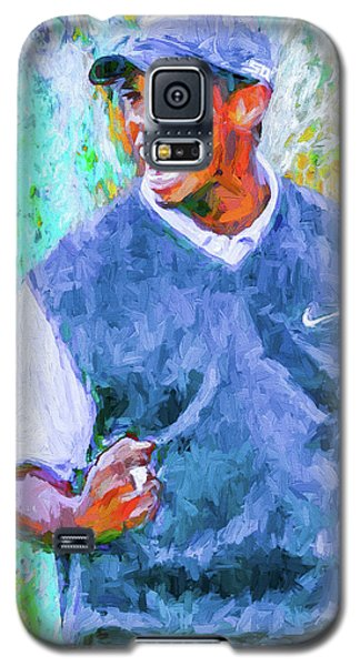 Galaxy S5 Case featuring the photograph Tiger One Two Three Painting Digital Golfer by David Haskett