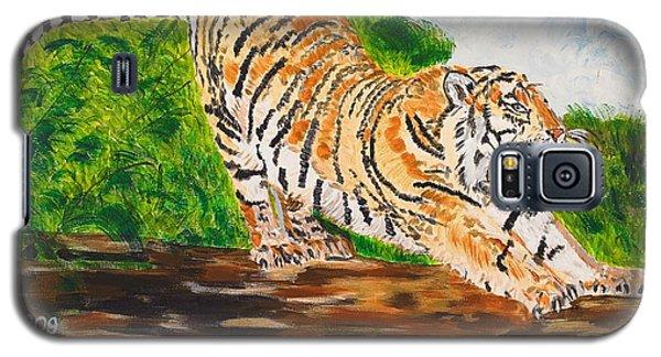 Tiger Stretching Galaxy S5 Case by Valerie Ornstein