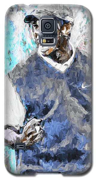 Galaxy S5 Case featuring the photograph Tiger Woods One Blue Golfer Digital Art by David Haskett