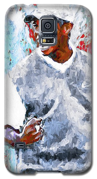 Galaxy S5 Case featuring the photograph Tiger Woods One Two Red Painting Digital by David Haskett