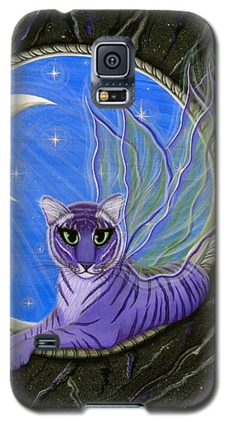Galaxy S5 Case featuring the painting Tigerpixie Purple Tiger Fairy by Carrie Hawks
